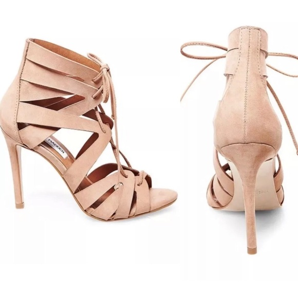 6cb8f3205ad Steve Madden Tan Suede Caged Heeled Sandals 11M NWT